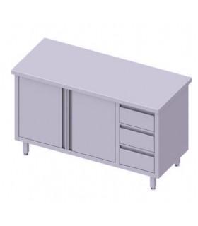 Table centrale avec trois tiroirs, portes battantes, Stalgast